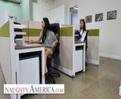 Naughty America - Avery Black & Jenna Rain fuck in office on Labor Day from nauthy america